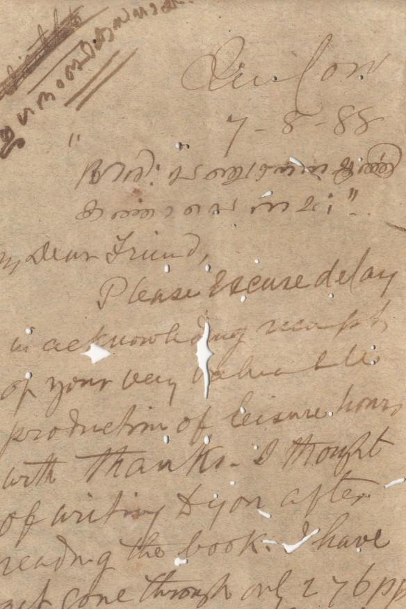 A rare letter in Peshkar's own handwriting to CV Raman Pillai